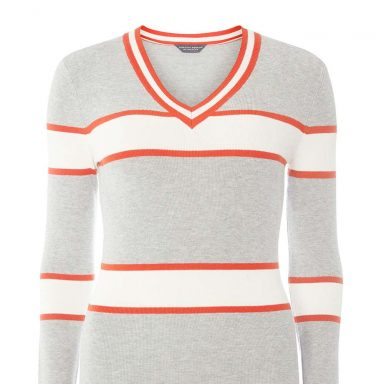 Pull à rayures country-club gris - Femme grande