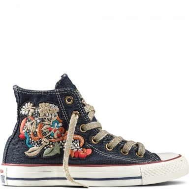 Chuck Taylor All Star Flower Patchwork Denim Blue White grande taille