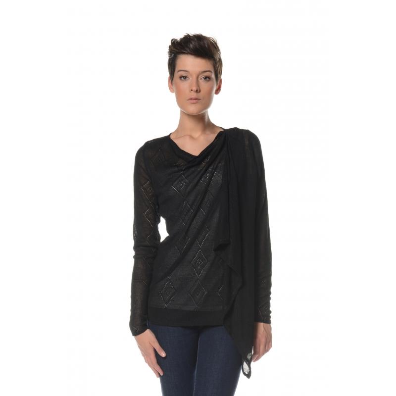 Gilet noir maille crochet motif losange Flamenzo - Femme grande