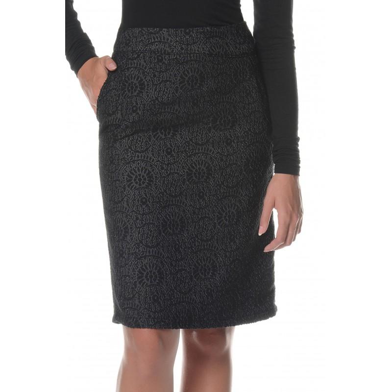 Jupe anthracite à motifs noirs Flamenzo - Femme grande