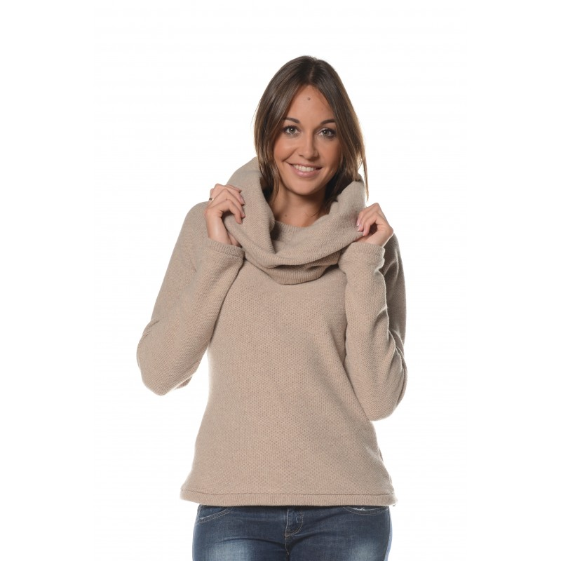Pull beige col amovible Flamenzo - Femme grande