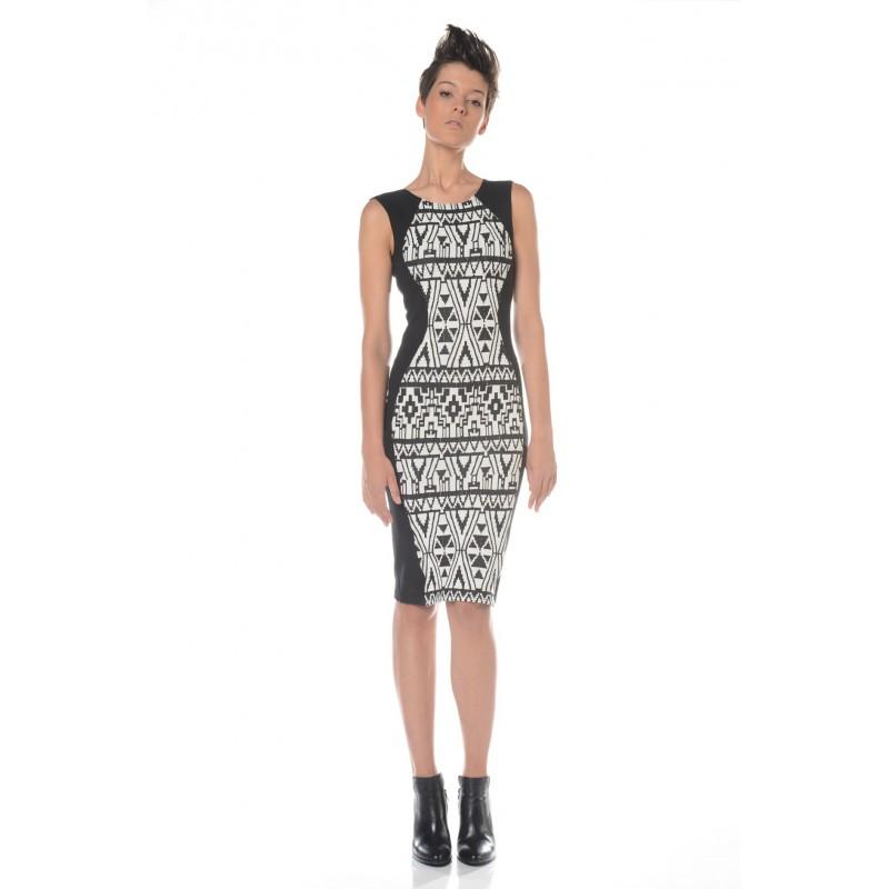 Robe à motifs géométriques noirs et blancs Flamenzo - Femme grande