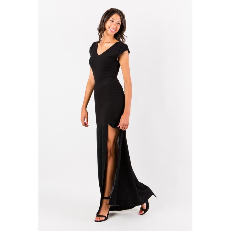 Robe longue noire fendue Flamenzo - Femme grande