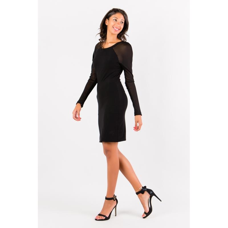 Robe noire à manches résille Flamenzo - Femme grande