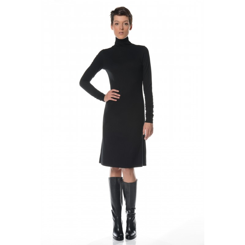 Robe noire col montant Flamenzo - Femme grande