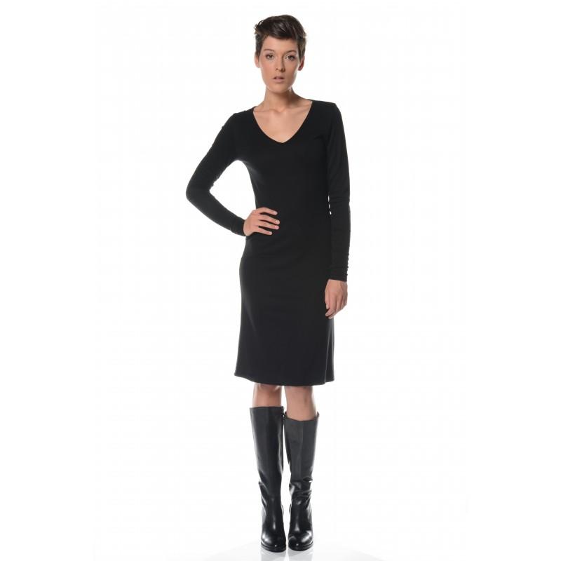 Robe noire encolure V Flamenzo - Femme grande