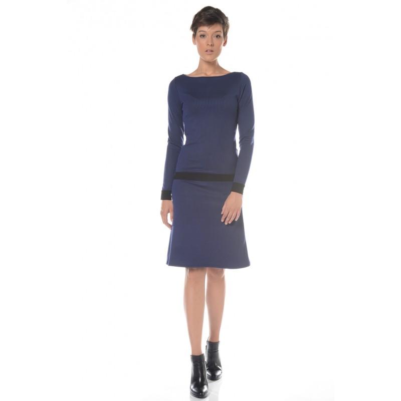 Robe rayée noir et bleu Flamenzo - Femme grande