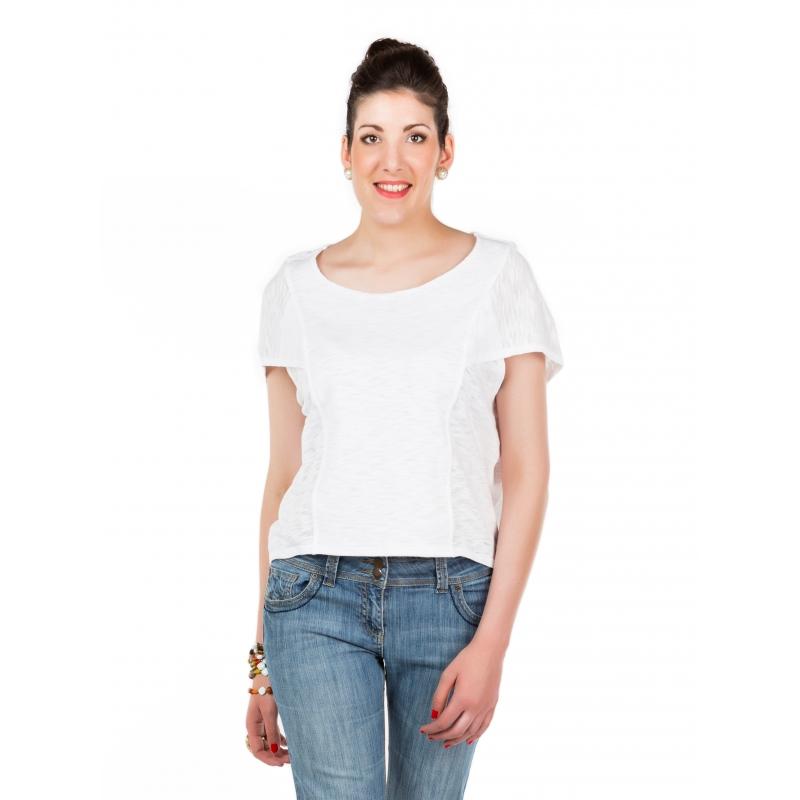 "T-shirt blanc emmanchure ""cape"" Flamenzo - Femme grande"