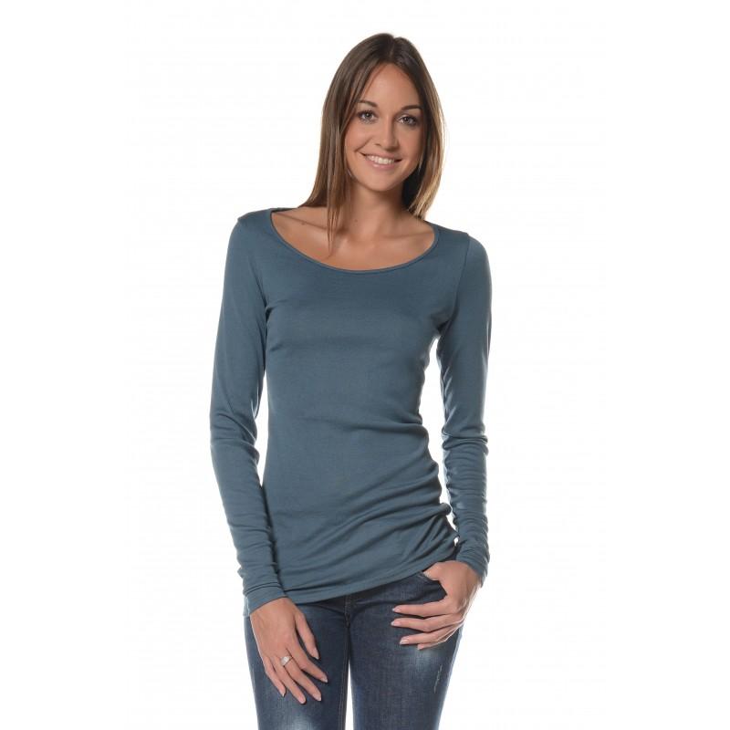 T-shirt manches longues bleu col rond Flamenzo - Femme grande