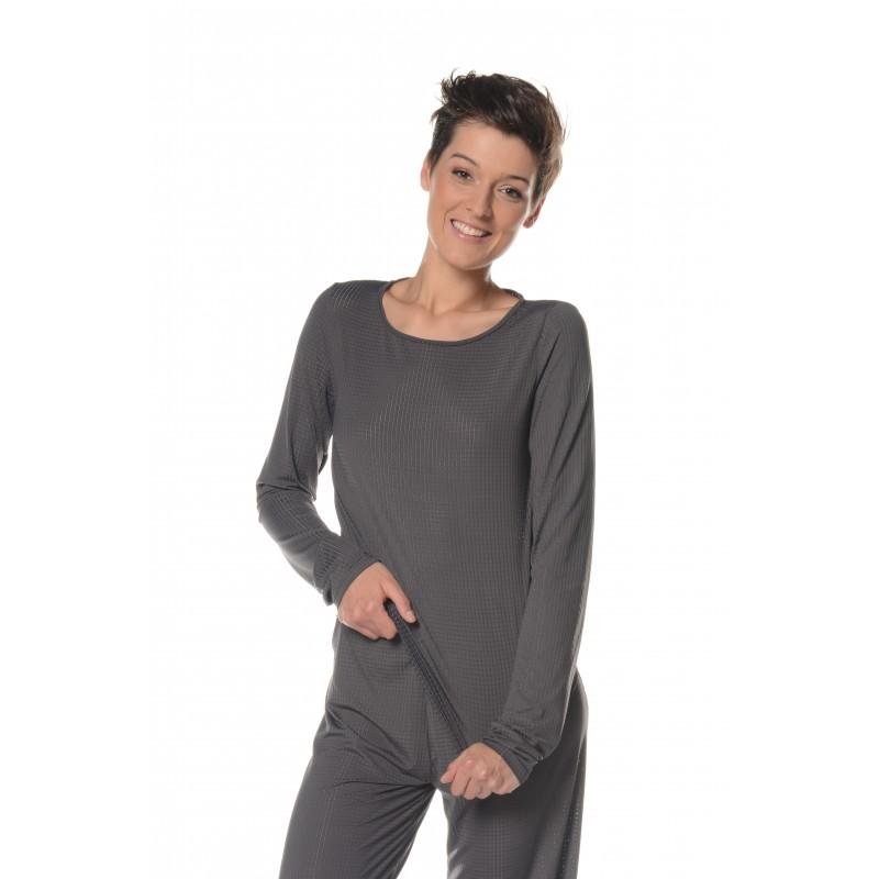T-shirt manches longues gris Flamenzo - Femme grande
