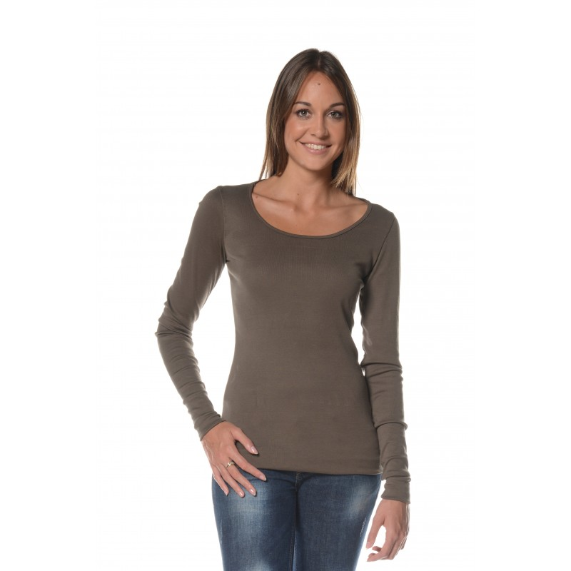 T-shirt manches longues kaki col rond Flamenzo - Femme grande