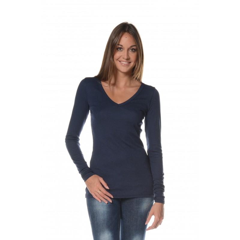 T-shirt manches longues marine col V Flamenzo - Femme grande