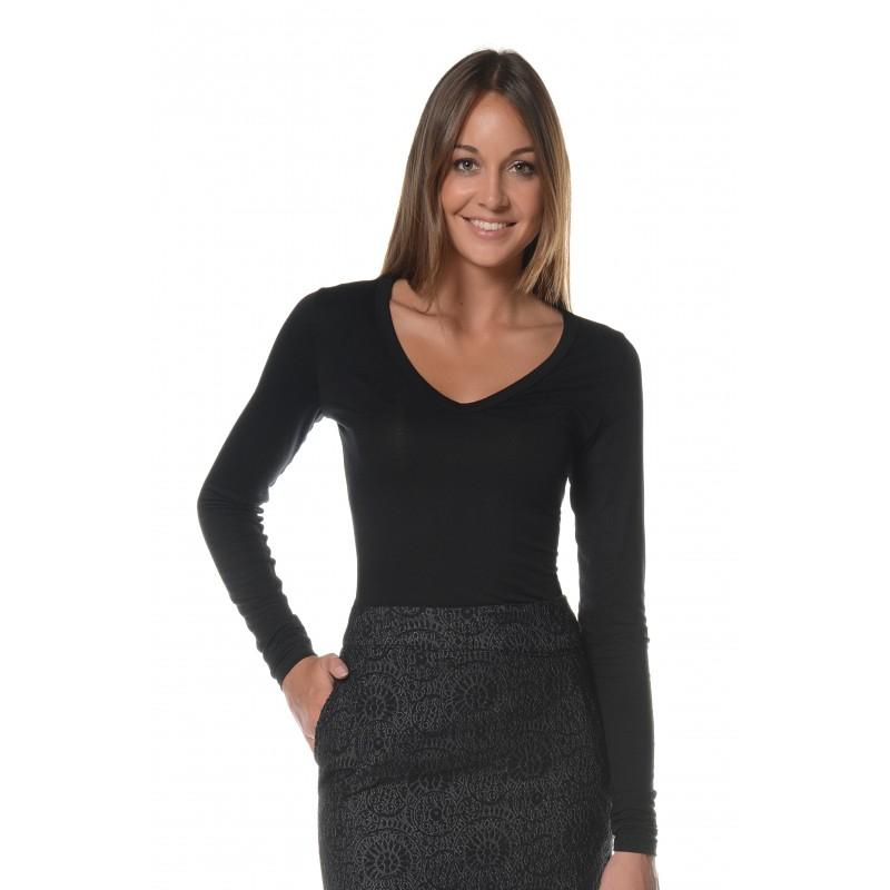 T-shirt manches longues noir col V Flamenzo - Femme grande