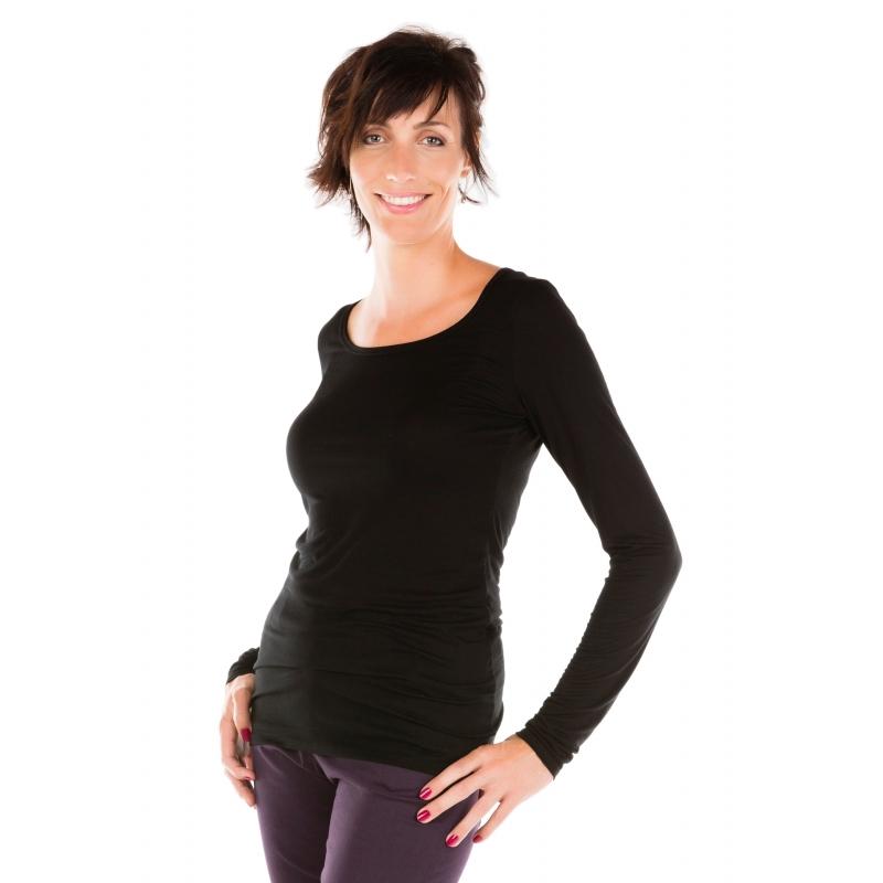 T-shirt manches longues noir col rond Flamenzo - Femme grande