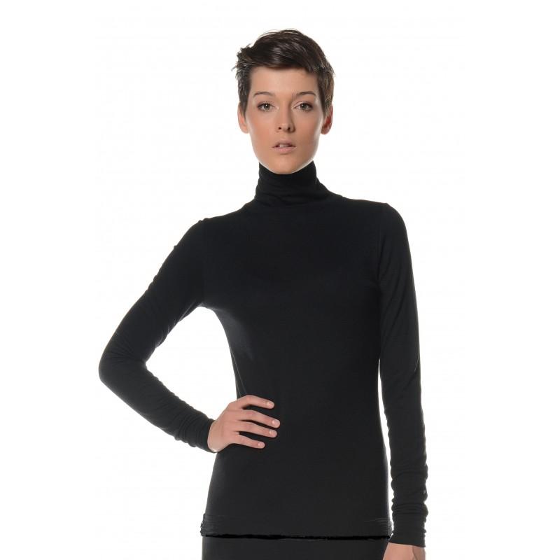 T shirt manches longues noir col roulé Flamenzo Femme grande