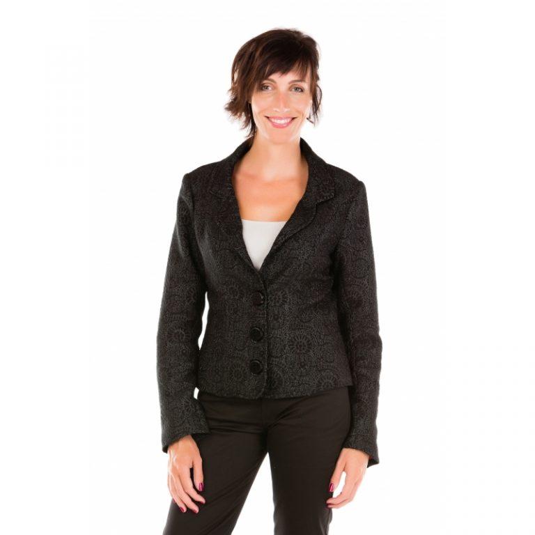 Veste de tailleur anthracite à motifs texturés noirs Flamenzo - Femme grande