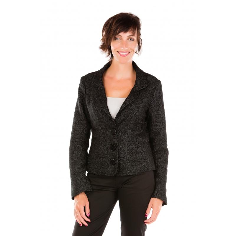 50d02ac409 Veste de tailleur anthracite à motifs texturés noirs Flamenzo - Femme grande