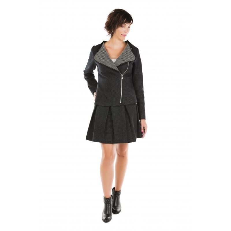 Veste perfecto noire tissu texturé Flamenzo - Femme grande
