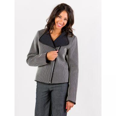 Veste perfecto rayée noir et blanc tissu texturé Flamenzo - Femme grande