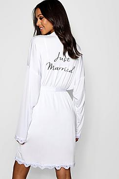 Robe de chambre nuptiale Just Married blanc - Femme grande