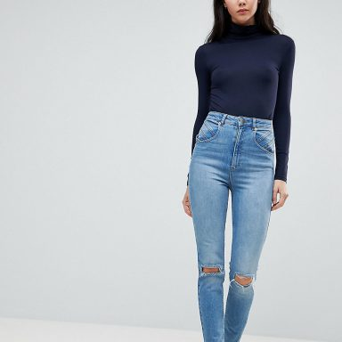 Farleigh jean mom coupe slim avec coutures apparentes style années 80's - Longueur 36