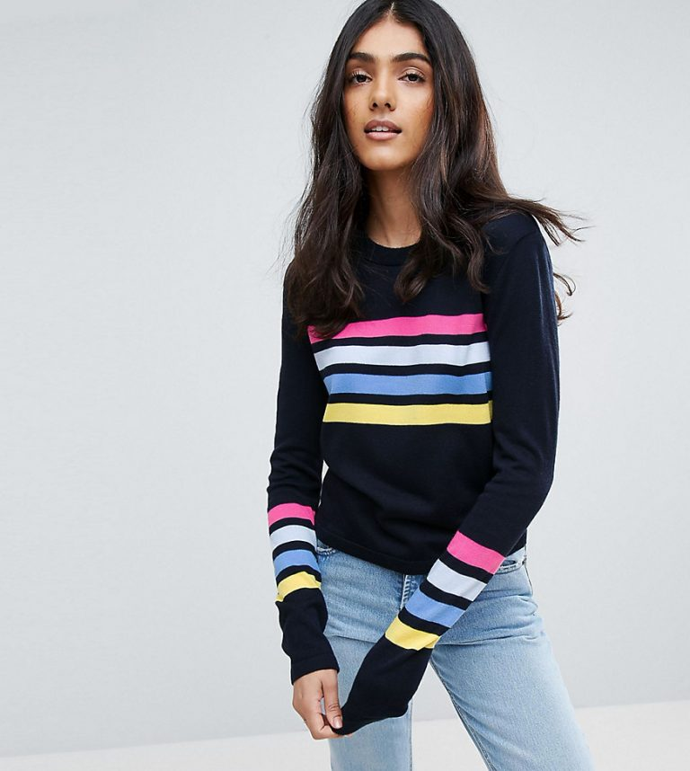 Pull à rayures multicolores navy - Femme grande