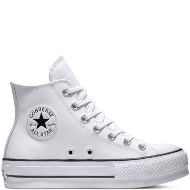 Chuck Taylor All Star Lift Leather High Top Black grande taille