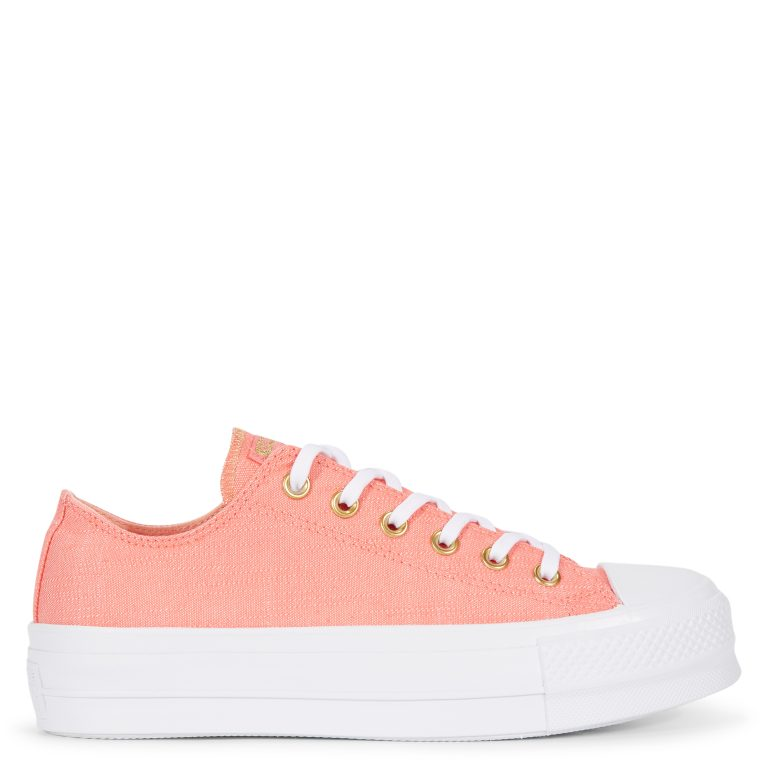 Chuck Taylor All Star Lift Washed Linen Pink grande taille