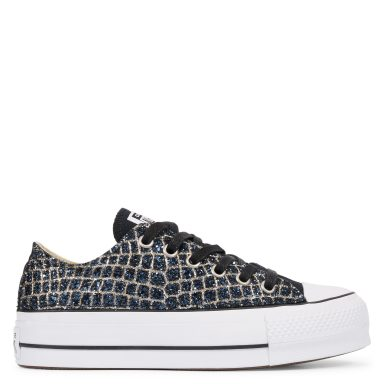 Chuck Taylor All Star Platform Print Low Top Black/Dark Navy Croco Glitter grande taille