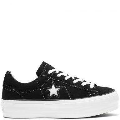 Converse One Star Platform Suede Low Top Black grande taille