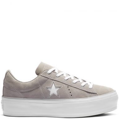 Converse One Star Platform Suede Low Top Mercury Grey/Mercury Grey grande taille