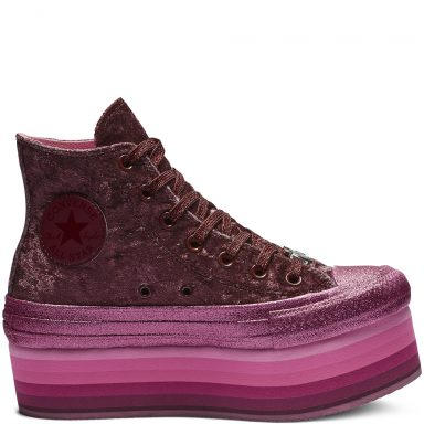 Converse x Miley Cyrus Chuck Taylor All Star Platform High Top Velvet Dark Burgundy/Pink grande taille