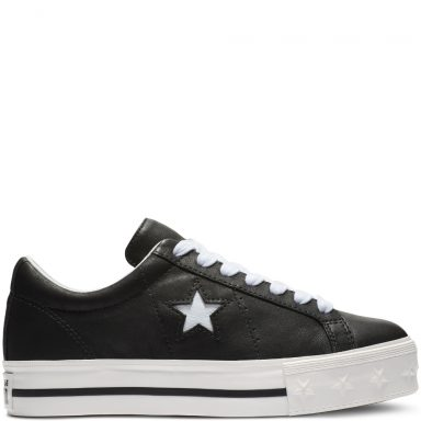 One Star Platform Leather Low Top Black grande taille