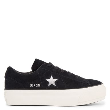 One Star Platform Suede Low Top Black grande taille