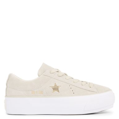 One Star Platform Suede Low Top Frayed Burlap/Light Gold/White grande taille