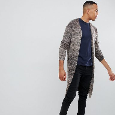 Cardigan long texturé à fils teints par section marron - Homme grand