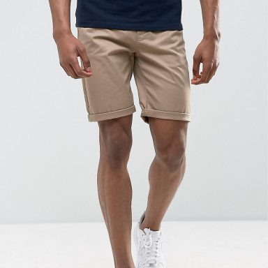 Short chino ajusté taupe - Homme grand