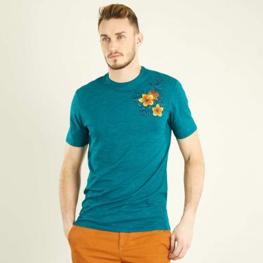 T-shirt fitted brodé vert chiné - Homme grand