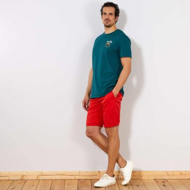 T-shirt regular brodé vert - Homme grand