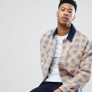 Veste en jean oversize à carreaux orange - Homme grand