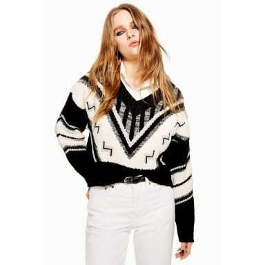Pull rock and roll monochrome - Femme grande