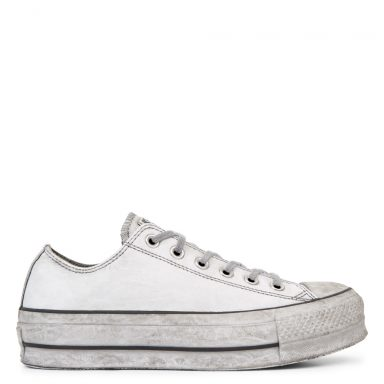 Chuck Taylor All Star Leather Smoke plate-forme à tige basse White/White Smoke In grande taille