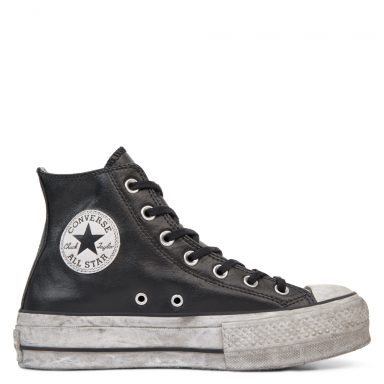 Chuck Taylor All Star Leather Smoke plate-forme à tige montante Black/Black Smoke In grande taille