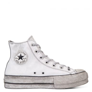 Chuck Taylor All Star Leather Smoke plate-forme à tige montante White/White Smoke In grande taille