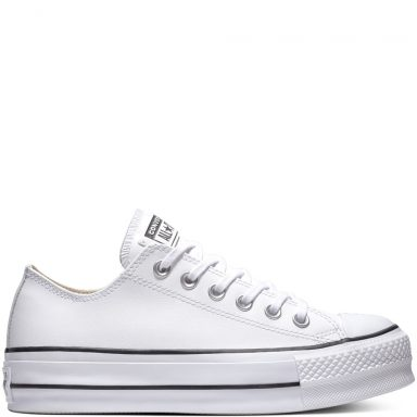 Chuck Taylor All Star Lift Clean Leather Low Top Black grande taille