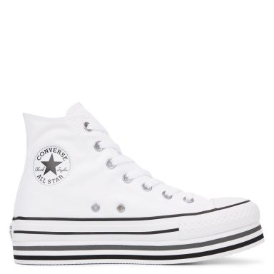 Chuck Taylor All Star Lift High Top White/Black/Thunder grande taille