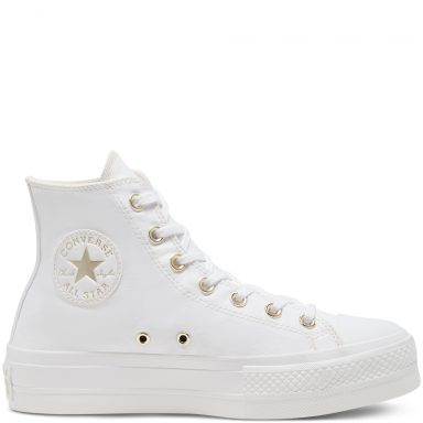Chuck Taylor All Star Elevated Gold Platform à tige montante pour Femme White grande taille