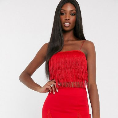 Exclusivité - Crop top d'ensemble à franges   rouge - Femme grande
