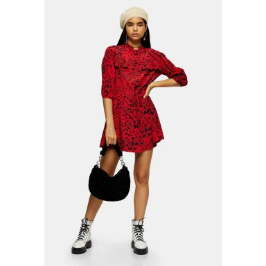 Mini robe rouge à volants superposés rouge - Femme grande
