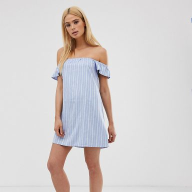 Missguided Tall  - Robe courte style Bardot - Rayures bleues multicolore - Femme grande